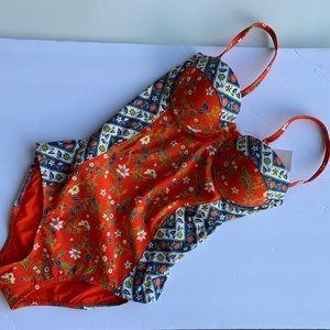Tory Burch batik floral underwire one piece swim S